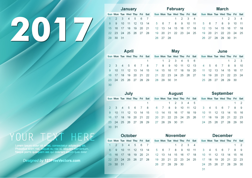 Illustrator 2017 Calendar Template 123freevectors