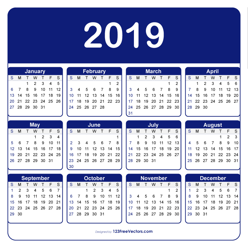 Adobe Illustrator Calendar Template 2019 123freevectors
