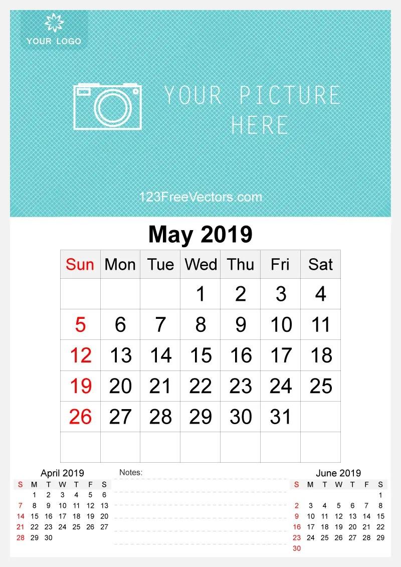 2019 May Wall Calendar Template Free 123freevectors