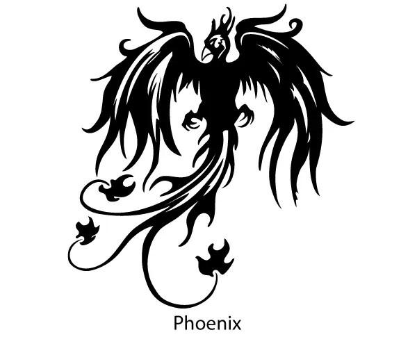 phoenix bird vector silhouette free 123freevectors