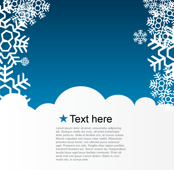 Vector Christmas Greeting Card With Snowflakes On Blue
