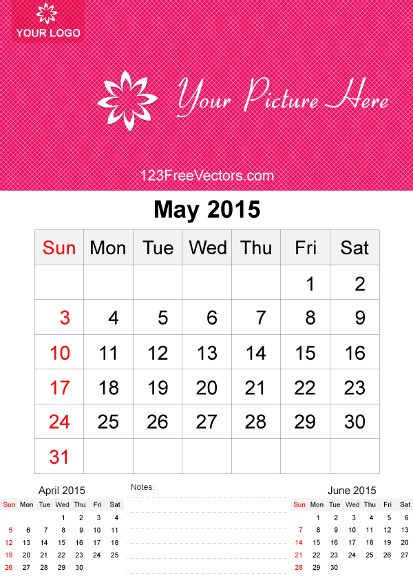 May 2015 Calendar Template Vector Free 123freevectors