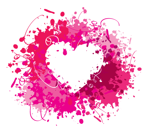 Download Pink Splash Heart Vector | 123Freevectors
