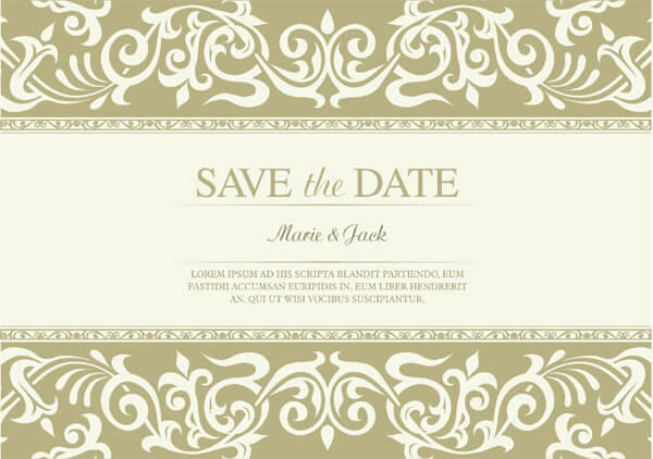 Vector Marriage Clipart Of Wedding Invitation Designs With Text And Gold Swirls