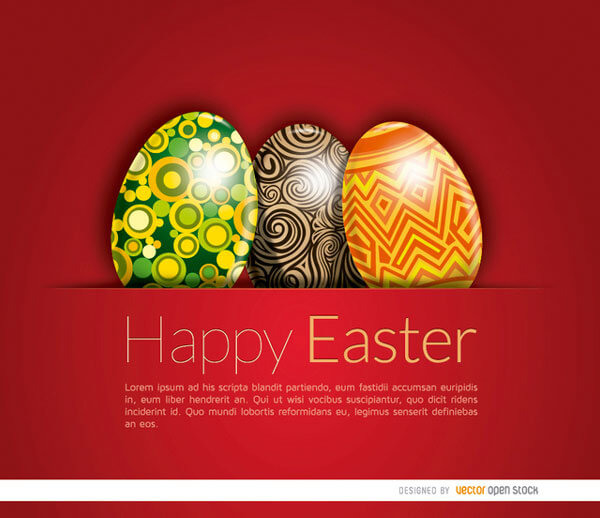 easter eggs card template vector 123freevectors