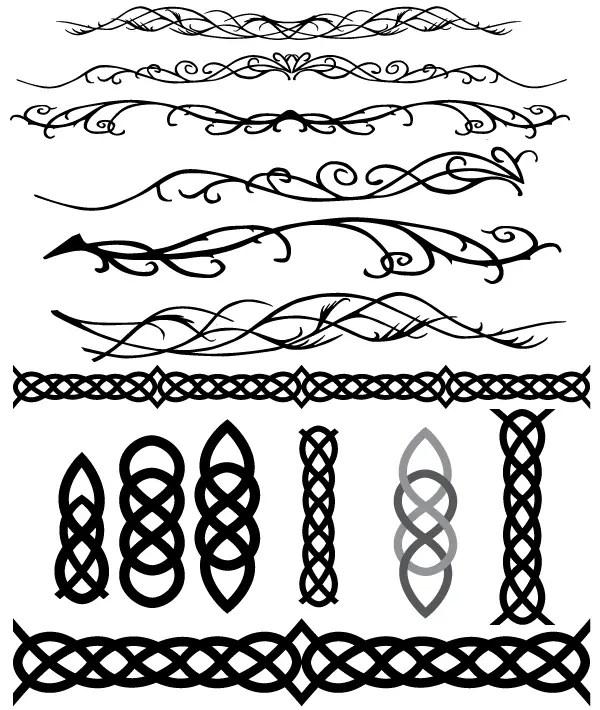 Celtic and Elvish Decoration Flourish Vectors