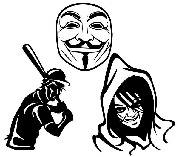 Free Vector Mask, Baseball Player and Scary Face