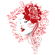 girl face with red rose and floral