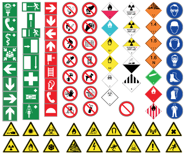All Road Signs And Their Meaning >> Health and Safety Signs Free Vector | 123Freevectors