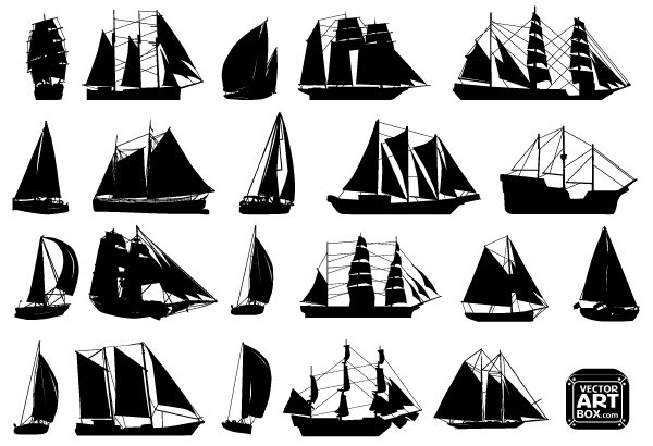 Free Vector Sailboat Silhouettes 123freevectors