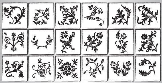 Floral Ornaments Vector Silhouettes