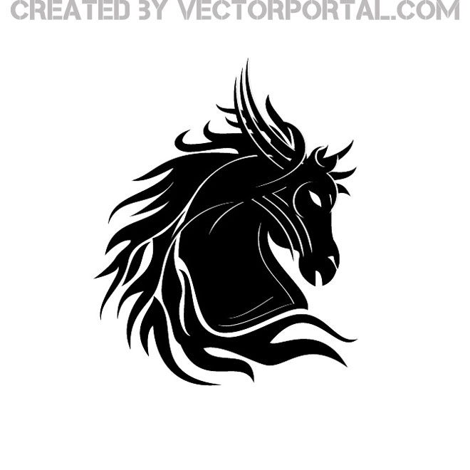 black horse with hair free vector 123freevectors rh 123freevectors com Black Snowflake Border Snowflake Beanie Black