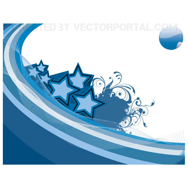 Blue Stars and Swooshes Background Free Vector