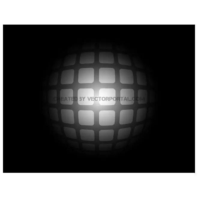 Grey Spheric Grid on Black Background Free Vector