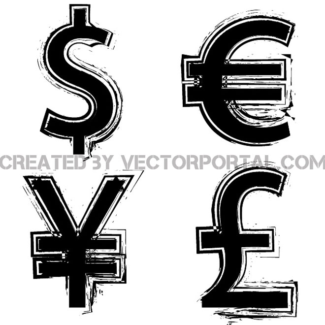 Grunge Currency Symbols Free Vector 123freevectors