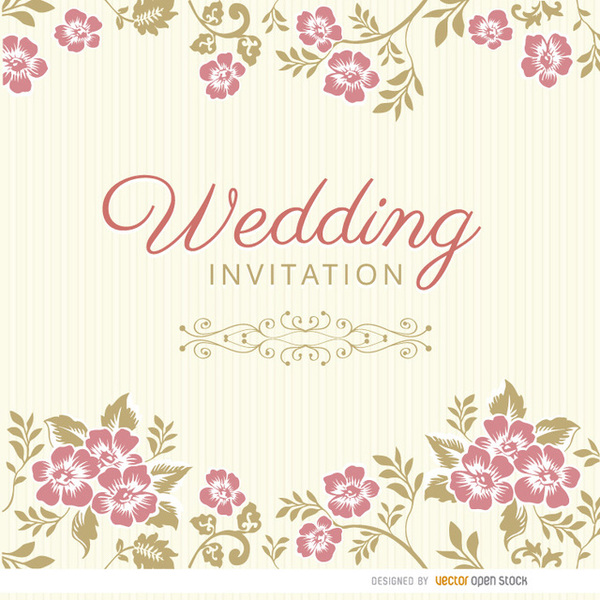 Wedding Invitations Fl Design Free Vector