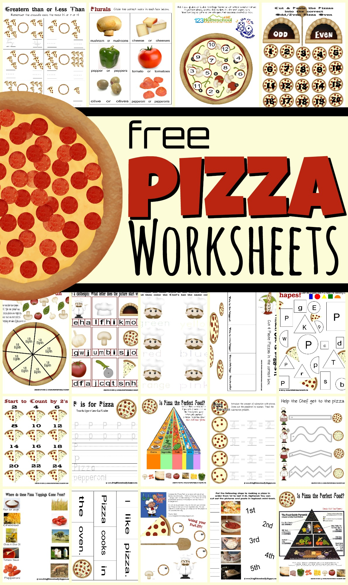 hight resolution of FREE Pizza Worksheets for Kids