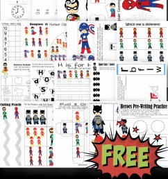 FREE Superhero Worksheets [ 1843 x 1024 Pixel ]