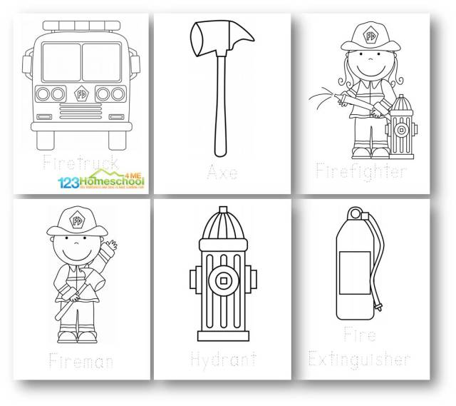🚒 FREE Printable Firefighter Coloring Page Set