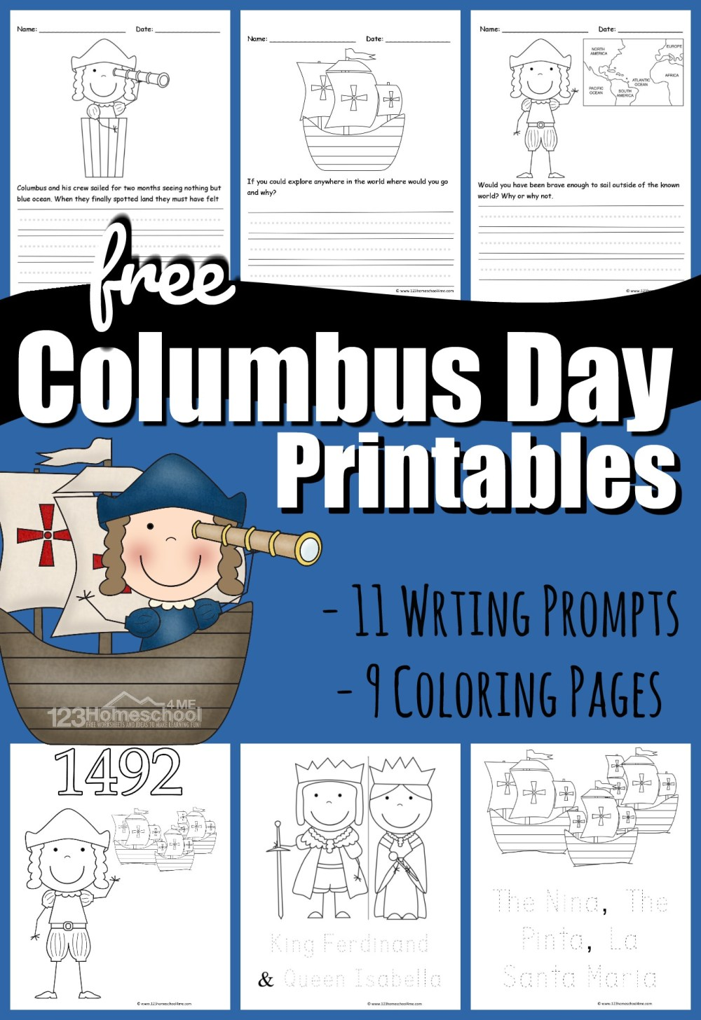 medium resolution of FREE Columbus Day Printables