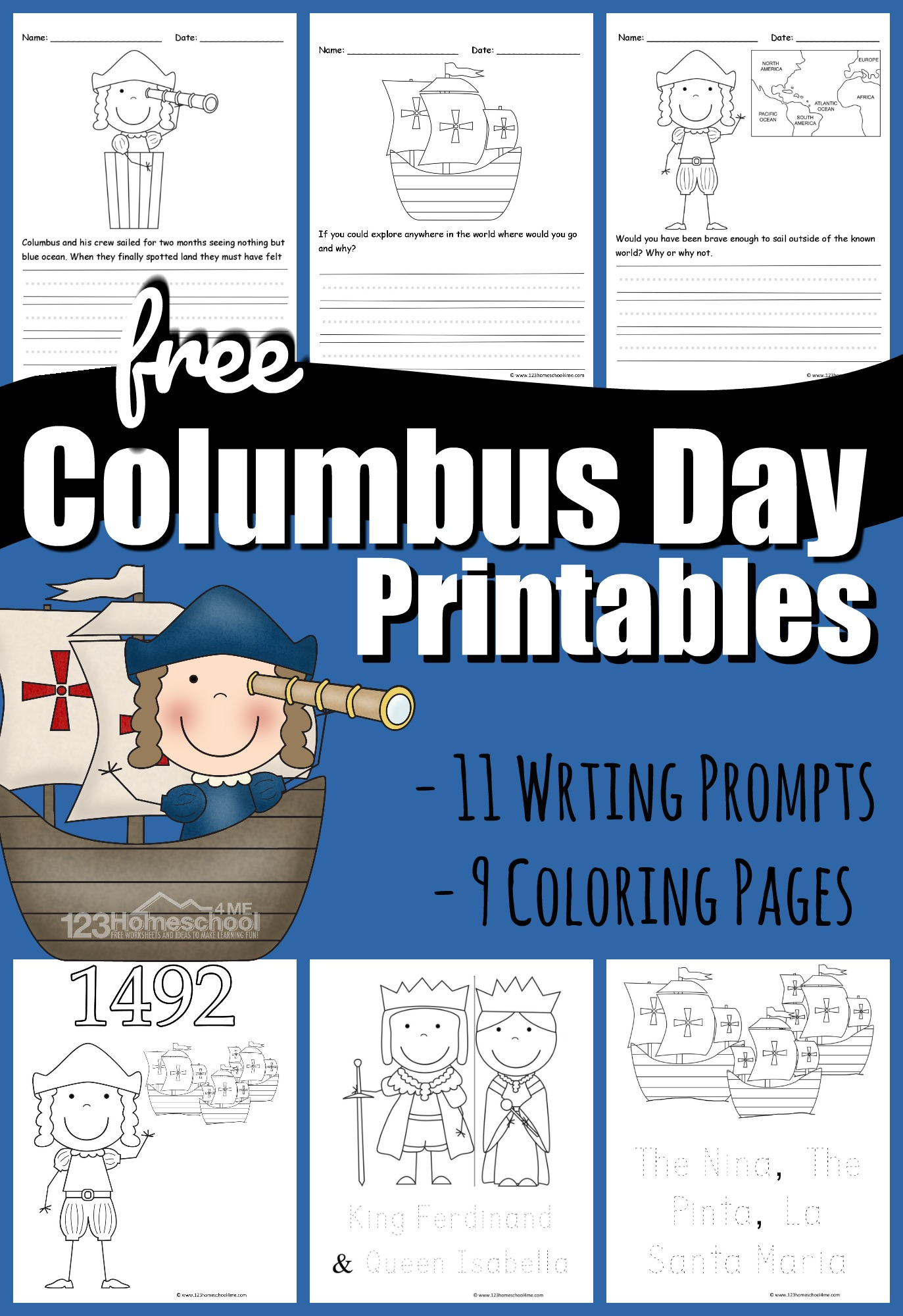 hight resolution of FREE Columbus Day Printables