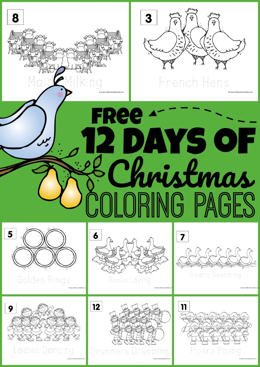 medium resolution of FREE 12 Days of Christmas Coloring Pages