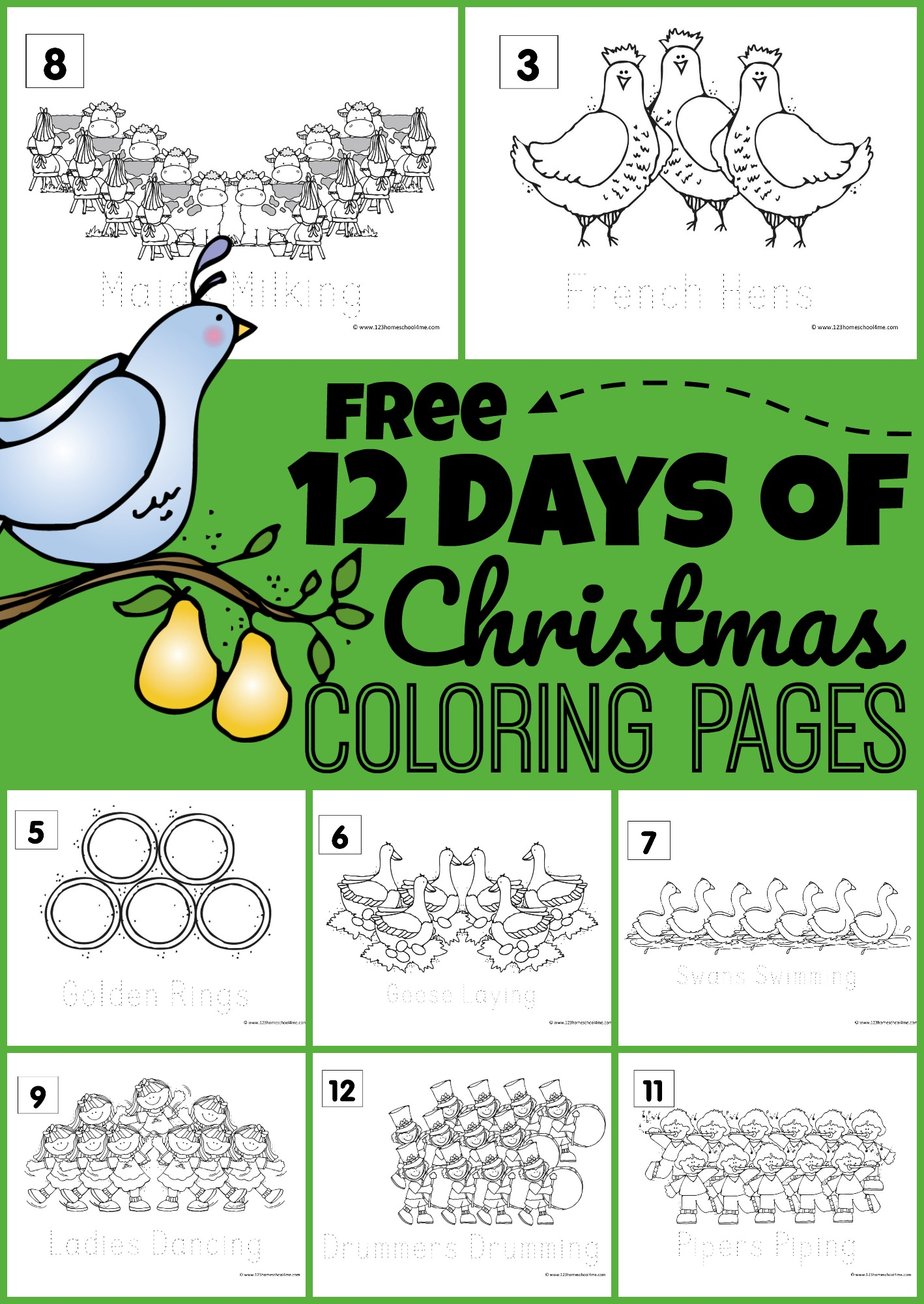 hight resolution of FREE 12 Days of Christmas Coloring Pages