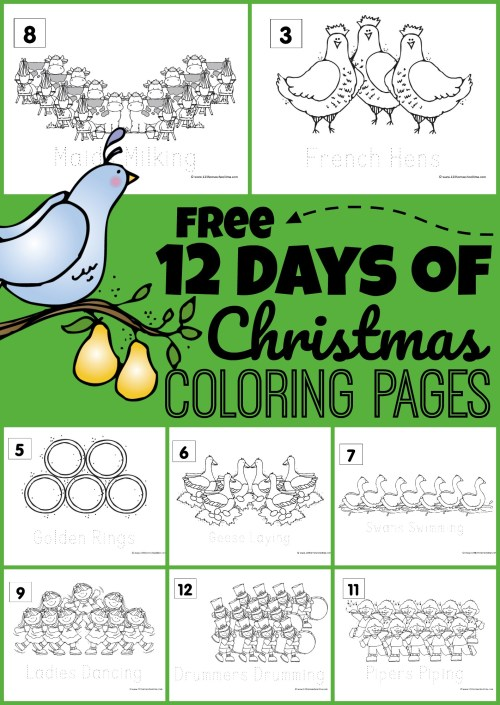 small resolution of FREE 12 Days of Christmas Coloring Pages