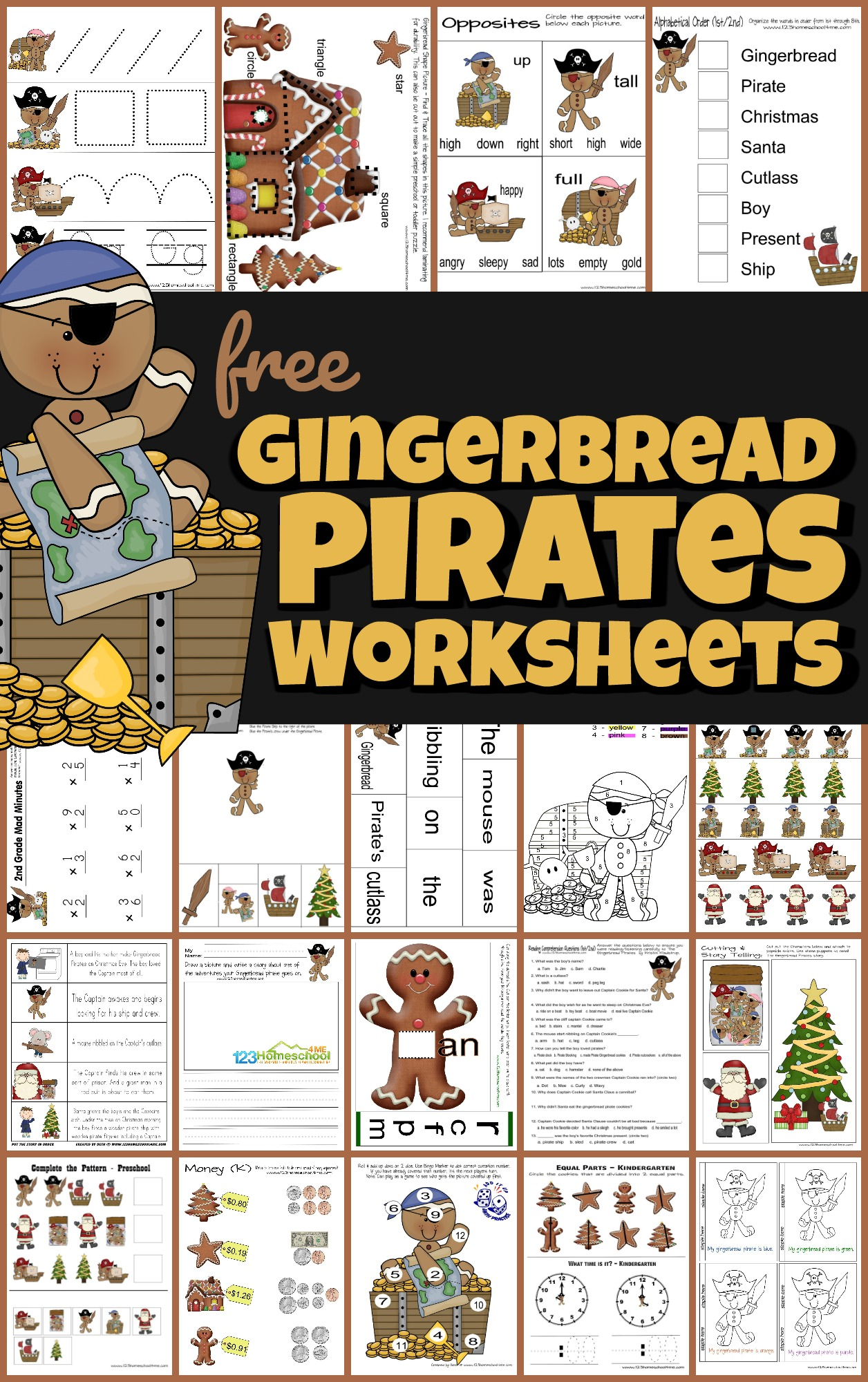 hight resolution of FREE Gingerbread Pirates Christmas Worksheets