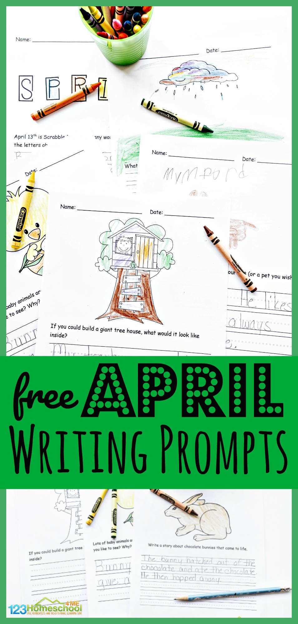 hight resolution of FREE Printable April Writing Prompts for Spring