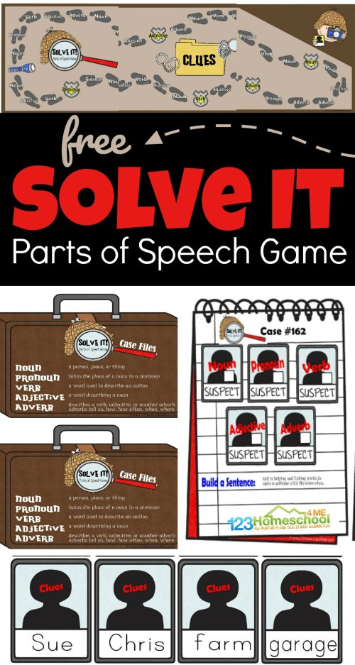 small resolution of FREE Solve It Parts of Speech Game