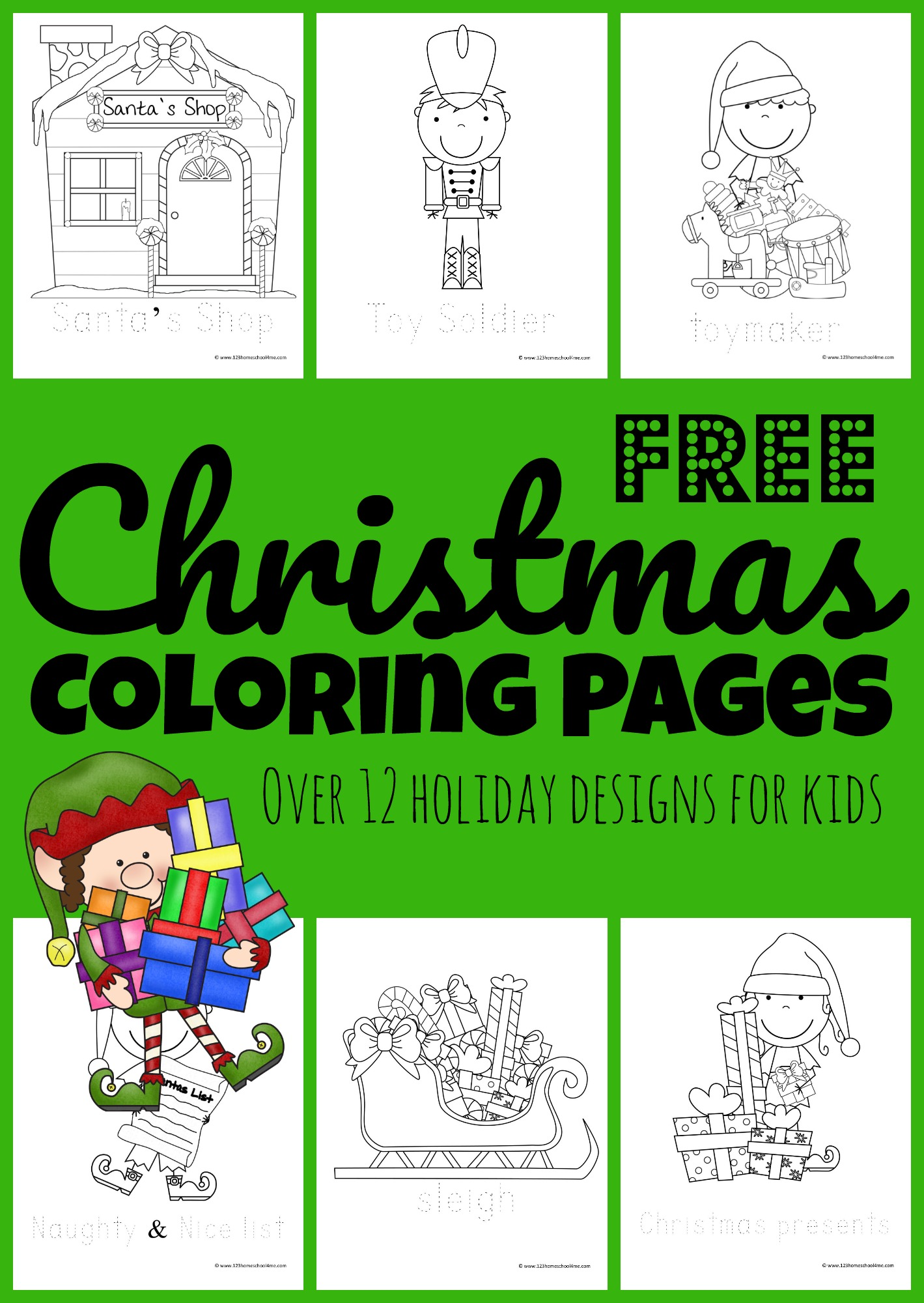 hight resolution of FREE Santa's Helpers Christmas Coloring Pages