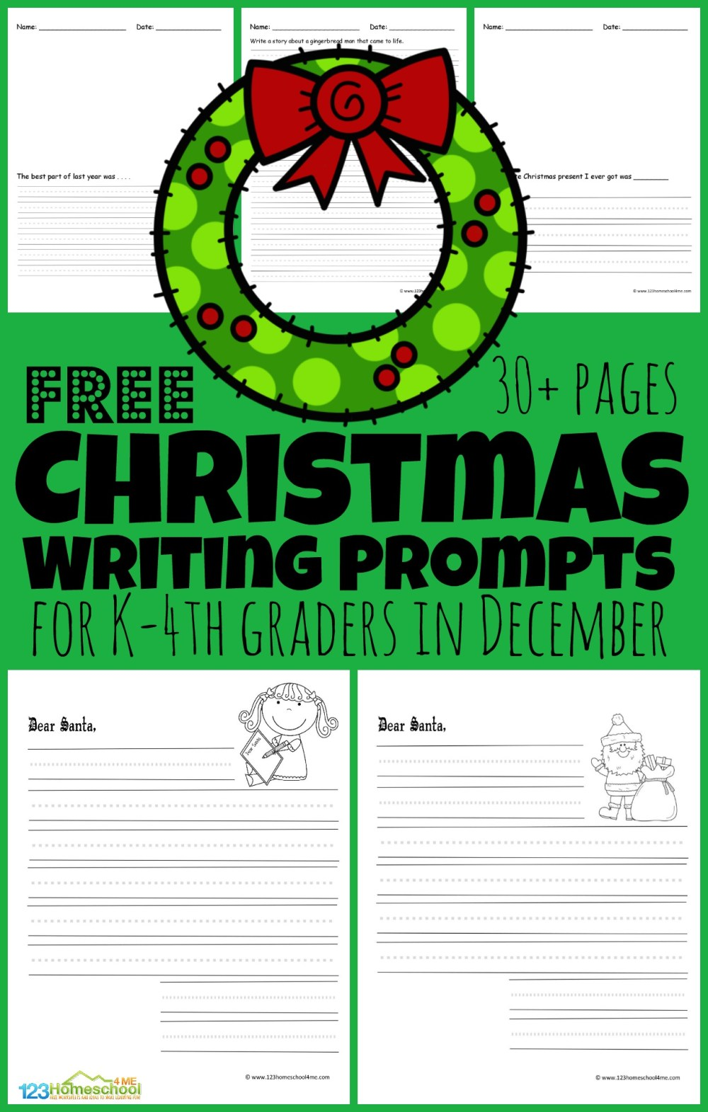 medium resolution of FREE Christmas Writing Prompts for Kids