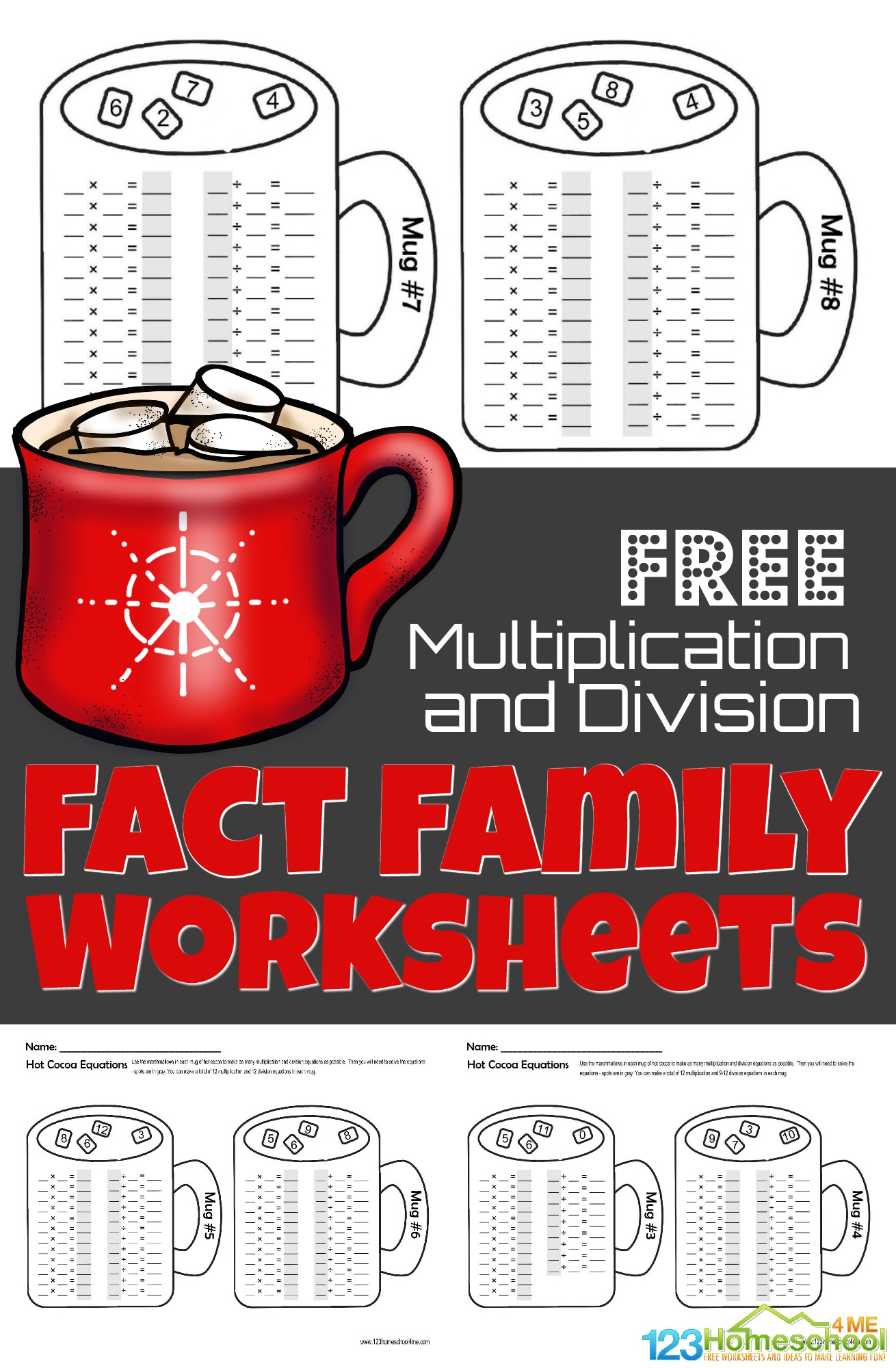 hight resolution of FREE Winter Hot Chocolate Multiplication and Division Fact Family Math  Worksheets