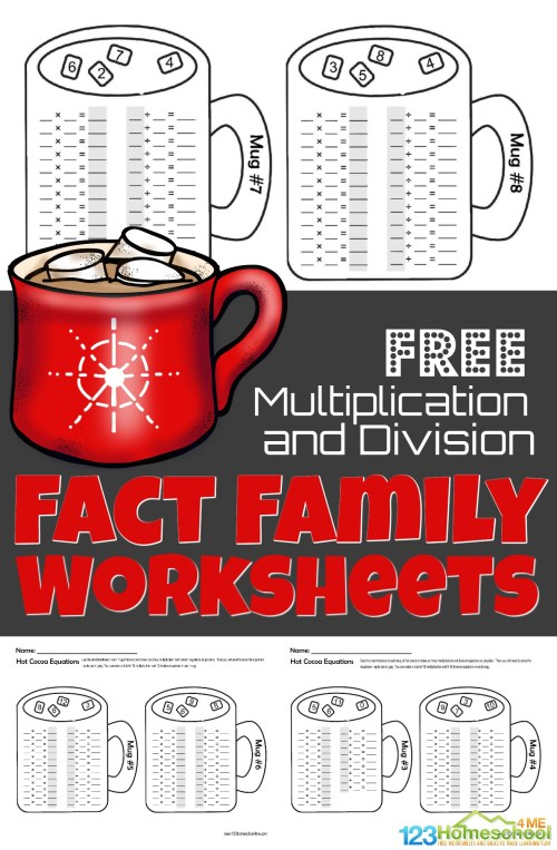 small resolution of FREE Winter Hot Chocolate Multiplication and Division Fact Family Math  Worksheets