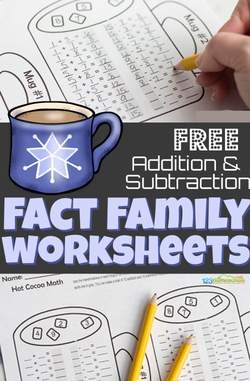 small resolution of FREE Hot Chocolate Addition and Subtraction Fact Family Worksheets