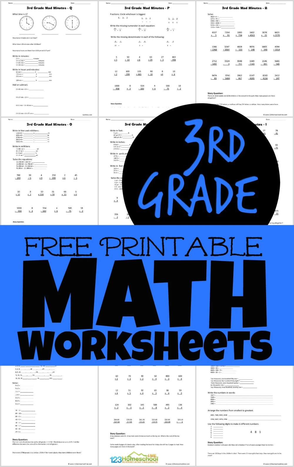 medium resolution of Free Printable 3rd Grade Math Worksheets