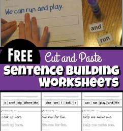 Cut and Paste Sentence Building Worksheets [ 1659 x 1024 Pixel ]