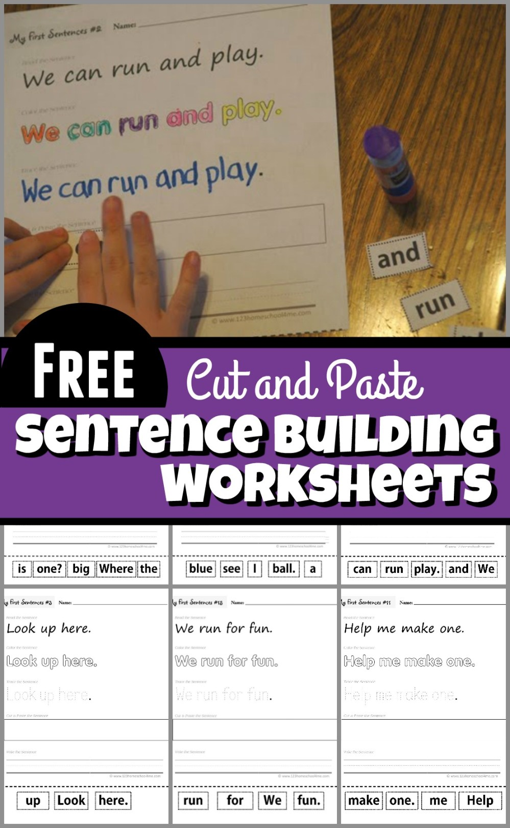 medium resolution of Cut and Paste Sentence Building Worksheets