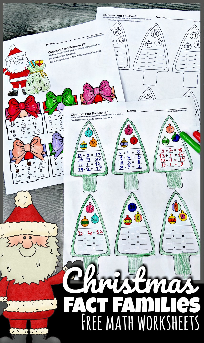 medium resolution of FREE Christmas Fact Families - Addition and Subtraction Math Worksheets