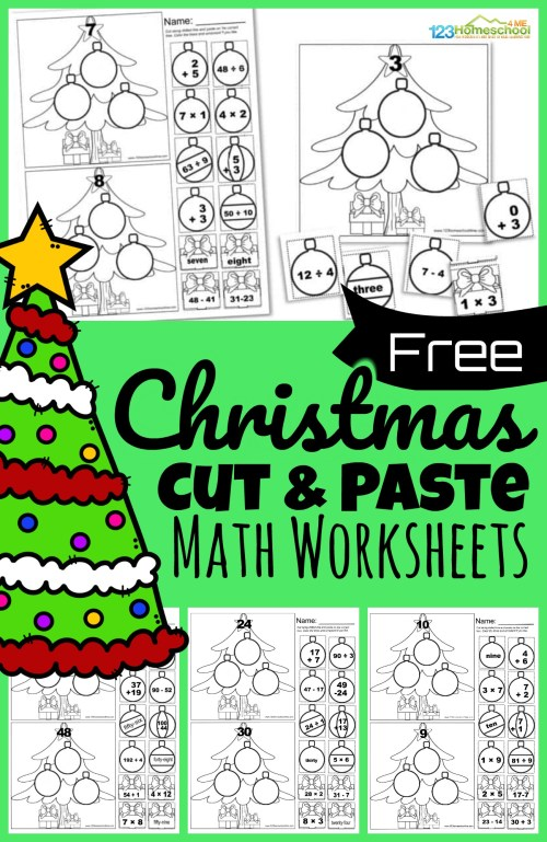 small resolution of Free CUT and PASTE Christmas Math Worksheets
