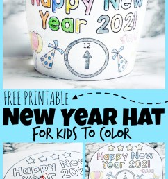 FREE Printable New Years Party Hats for Kids to Color [ 1739 x 1024 Pixel ]