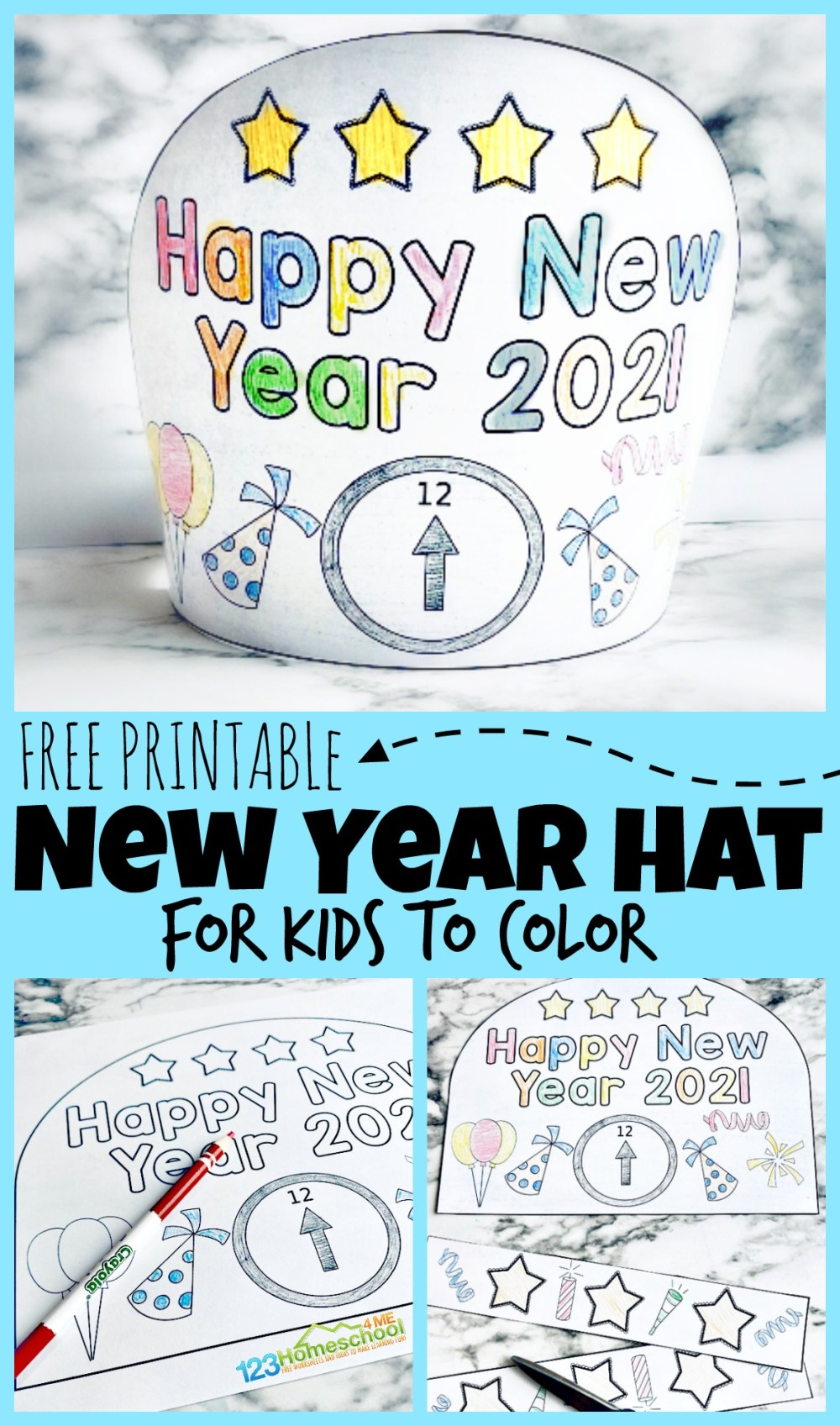 medium resolution of FREE Printable New Years Party Hats for Kids to Color