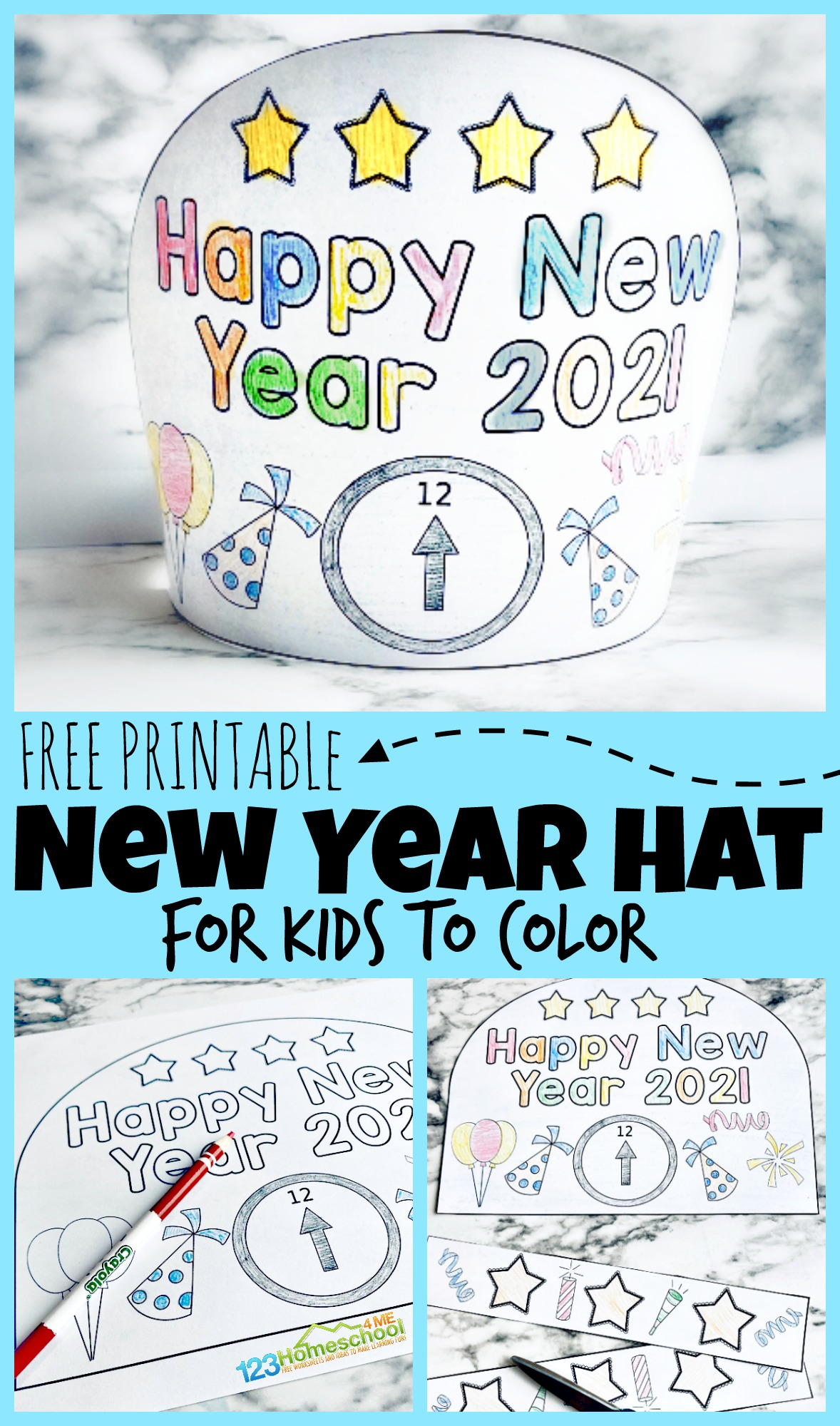 hight resolution of FREE Printable New Years Party Hats for Kids to Color