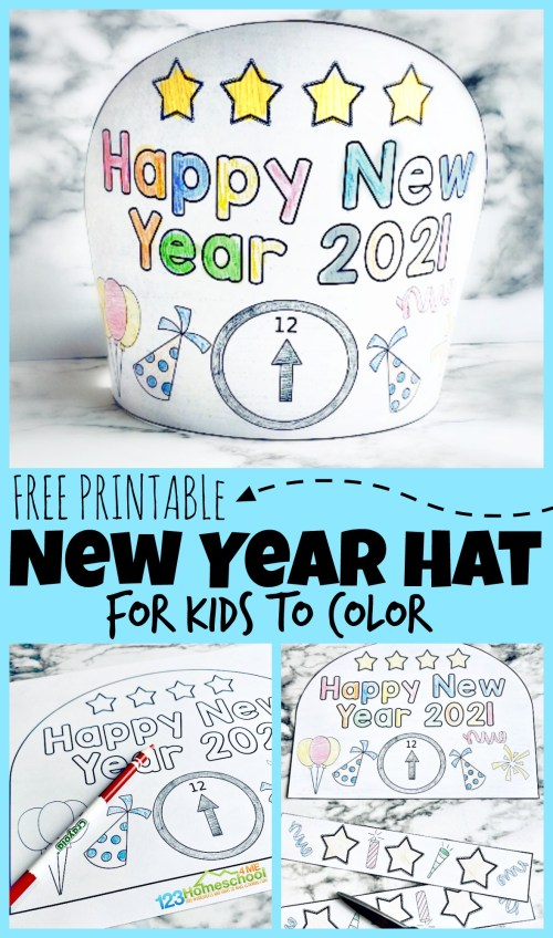 small resolution of FREE Printable New Years Party Hats for Kids to Color