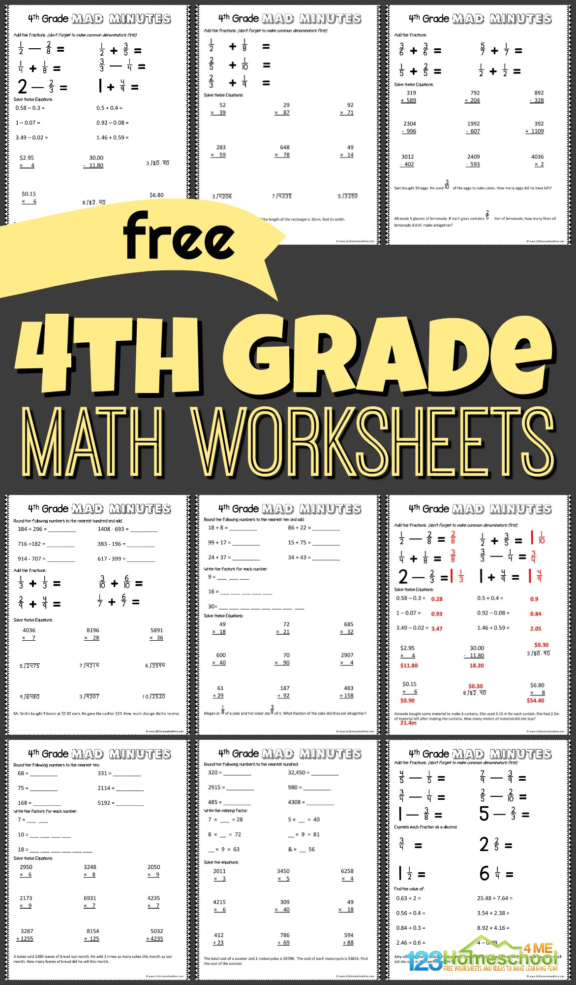 hight resolution of FREE 4th Grade Math Worksheets - 123 Homeschool 4 Me