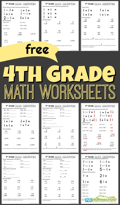 small resolution of FREE 4th Grade Math Worksheets