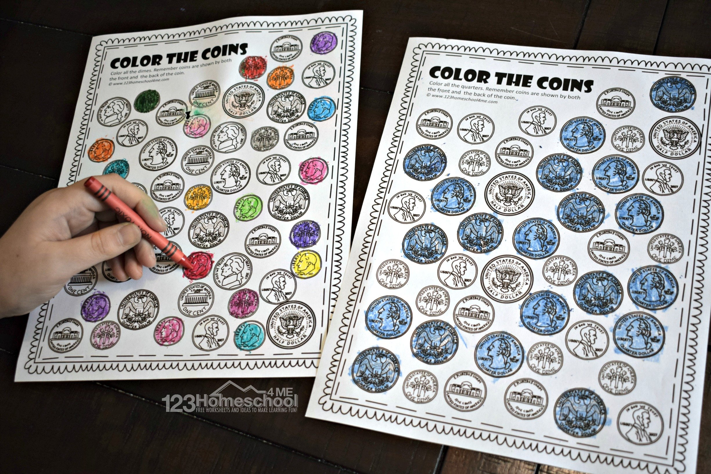 Free Color The Coins Money Worksheets