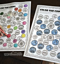FREE Printable Color the Coin Money Worksheets [ 1024 x 1537 Pixel ]