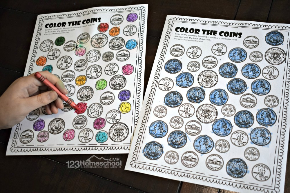 medium resolution of FREE Printable Color the Coin Money Worksheets
